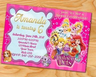 Palace Pets Birthday Invitations, Palace Pets Invitation, Princess Palace, Palace Pets Birthday Invitation,Palace Pets Invitations