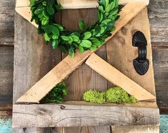 mini barn door, reclaimed wood, barn door, wall hanging