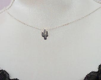 Necklace ethnic 925 sterling silver cactus