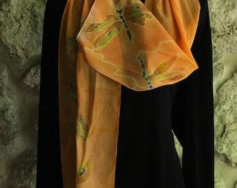 Fireflies in flight- silk scarf