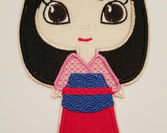 Princess Mulan inspired embroidery patch, Mulan iron on inspired patch, Mulan birthday party inspired applique