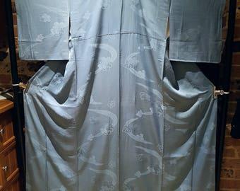 New - Shoken Silk Homongi Kimono - Textured Waves on Sky Blue