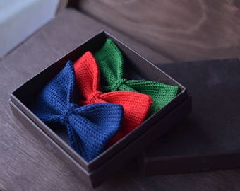 Set of 3 hand made 100% cotton bow ties