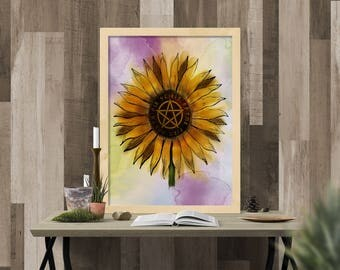 Sunflower, Pentacle, Runes, Digital Download, Instant Download, Sunflower Art, Witch Art, Wiccan Art, Witchcraft Decor, Wicca Decor, Pagan