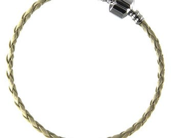 Beige leather charm bracelet