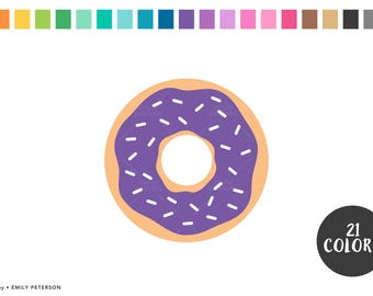 Donut, Doughnut, Breakfast - Cute Clipart, Clip Art - Commercial Use, Instant Download