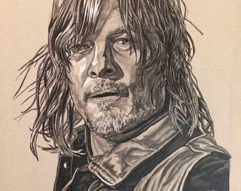 The Walking Dead Daryl Dixon Norman Reedus Portrait Original Art