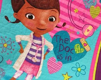 Doc McStuffins quilt, blanket, handmade quilt, lap quilt, wall hanging, doctor, nurse, licensed fabric, girl gift, gender neutral