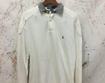 SALE 25% Vintage 90s Polo Ralph Lauren Rugby Shirt Size M