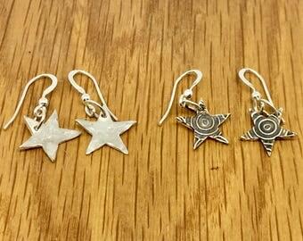 Handmade Silver Star Drop earrings, Hammered silver star drop earrings, swirly silver star drop earrings, star drop earrings, handmade