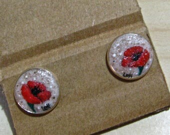 "Handmade earrings ""POPPIES"" ... base in sand"