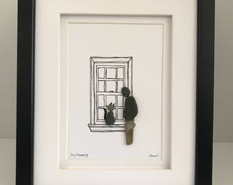 Cat in window pebble art/ one of a kind/ unique gift/ rock art