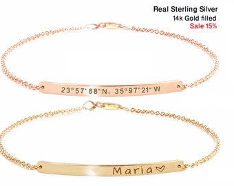 Personalized bracelet for women, Christmas Gift, Coordinate bracelet, Bracelet bar, Wedding gift, Bridesmaid gift, Engraved bracelet.