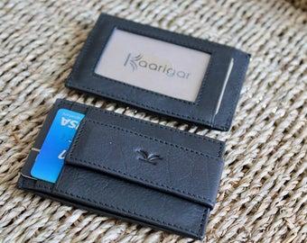 Kaarigar Money Clip Wallet Slim Leather Wallet Minimalist Wallet RFID Protected Money Clip