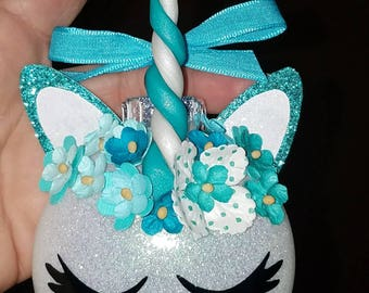 Unicorn ornament,  teal unicorn ornament,  Christmas ornaments,  unicorn,
