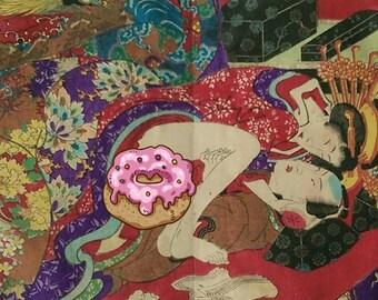 19th Century Antique Shunga (erotic) Japanese Prints Woodblock Azuma Genji (D) 2 0f 12 (773)