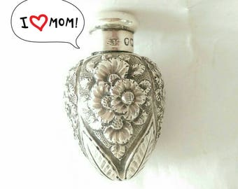 Rare Antique Sampson Mordan Co Sterling Silver Repousse Scent Bottle (2798)