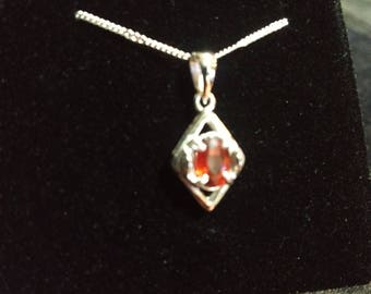 Orange Red Spinel Gemstone Solid Sterling Silver Necklace