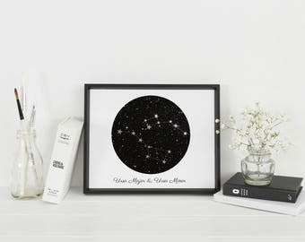 Framed Little Dipper & Big Dipper Ursa Minor Ursa Major Constellation Wall Art | Astrology Gift |