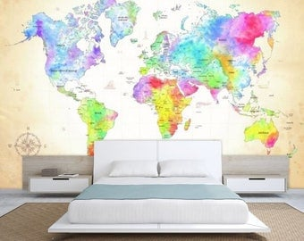 world map wall mural, painting map wallpaper, colorful world map, watercolor world map, world map decal, modern world map wallpaper, map