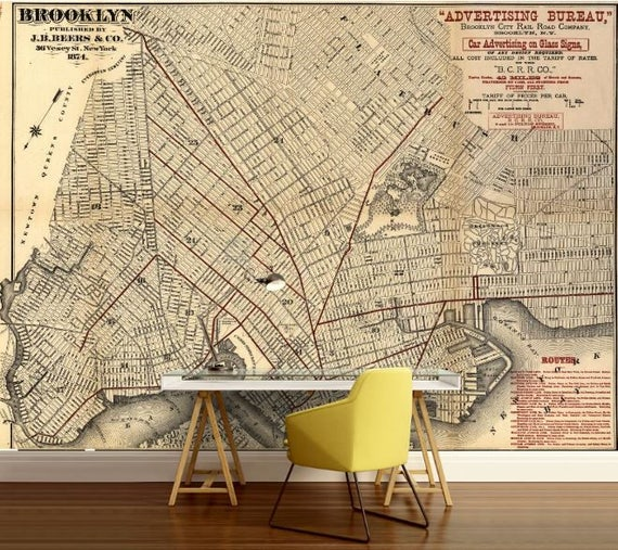Old World Map Wallpaper, Old Map Wall Mural, Old Brooklyn Map Wallpaper, World  Map Wall Decal, Antique World Map, Map Wallpaper, Map Mural