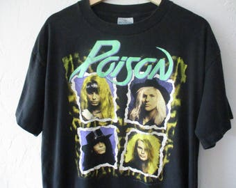 Poison Band Shirt,  Poison tshirt, Vintage Poison Shirt, Vintage band shirt, Poison Flesh and blood tour . Mens XL Vintage Band Tee