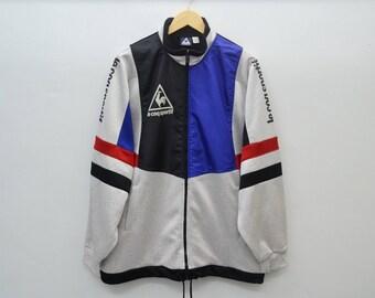 LE COQ SPORTIF Track Top Vintage 90's Le Coq Sportif Colorblock Big Logo Spell Out Track Top Zipper Jacket Size L