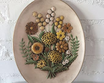 Vintage 1970s 3D Floral Ceramic Wall Art, Tray