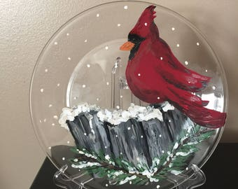 Cardinal Plate Hand Painted