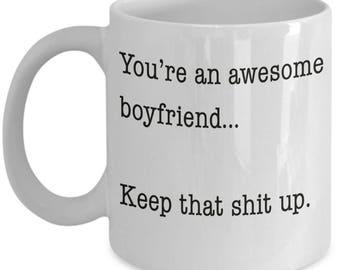 Awesome Boyfriend Mug, Funny Boyfriend Coffee Mug Gift for Valentines or Birthday