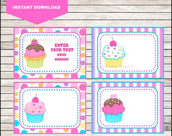 Cupcakes Printable Cards, tags, book labels, stickers, kids cards, gift tags, labeling, scrapbooking EDITABLE INSTANT DOWNLOAD