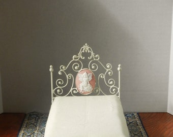 "Artisan Made Dollhouse Miniature Wrought Iron Look Bed ""Suzanna"" 1:12 Scale, Twin and Full"