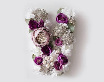Floral Letter, Silk Flower Letter, Eggplant Nursery Wall Decor, Baby Shower Gift, Wall Art, Brooch Bouquet, Lavender, Chic Decor