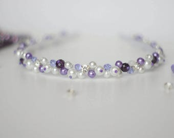 Purple and white crystal and pearl headband