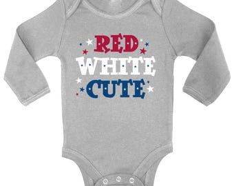 Red White Cute USA Flag Baby Long Sleeve Bodysuits Tops Bodysuit 4th Of July Independence Day Patriotic