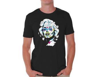 Monroe Sugar Skull T shirts for Men Shirts  Tshirts Tops Tees Marilyn Monroe Skull