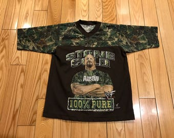 Vintage Stone Cold Steve Austin T-shirt Youth size camouflage 1990's WCW wrestling Huge graphics The Rock John Cena Sting bootleg rap shirt
