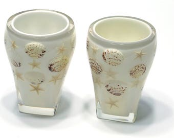 White Beach Ocean Shell Themed 2-Pc Set Tumbler Cups for Bathroom Toothbrushes, Make-Up brushes, Kitchen Curtlery, Decorative Flower e.t.c