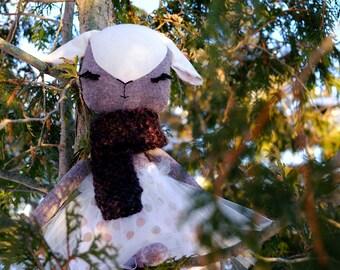 Lamb Doll, Heirloom Doll, Sheep doll, handmade doll, fabric doll, rag doll, lamb cloth doll, linen doll, cotton doll, easter gift, hand knit