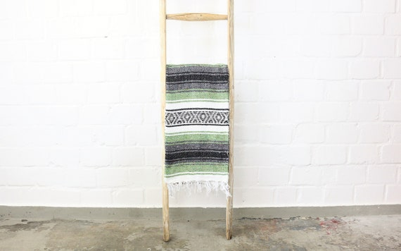 Traditional Mexican Falsa blanket Sarape 180 x 70 Light Green