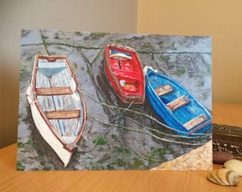 Three Coloured Boats, Lyme Regis, Dorset    Greeting card by Sarah King Art & Design