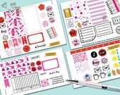 Sweet Love Weekly Planner Sticker Set, BIG Happy Planner Stickers, Weekly Set, Stickers, Printed, Cut, Valentine, Love, Candy, San Valentine
