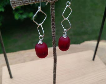 Candy Apple Red Seaglass and Argentium Silver Drop Earrings - With Hand Crafted Earwires and Headpins