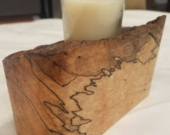 Solid Ambrosia Maple Candle Holder HAND MADE figured wood candle holder SPALTED