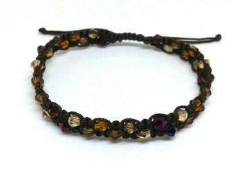 Brown crystal bead macrame bracelet