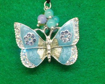 Blue butterfly christmas ornament