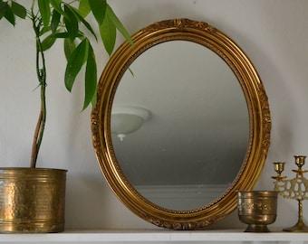 Gilt Framed Oval Mirror Vintage Hollywood Regency Glam Global Home Decor
