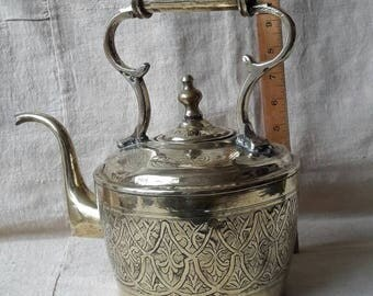 Moroccan vintage brass kettle, 1950ies.