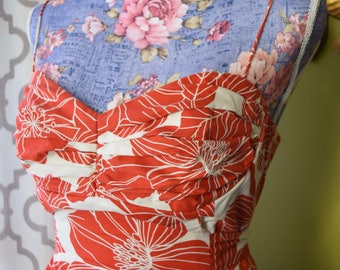 Orange Blossom Pin Up Summer Dress// Tie Back A-line Sweetheart Neckline//Spaghetti Strap Floral Print Dress By Jessica Howard Size 10 P