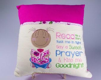 Reading Pillow, Book Pillow, Pocket Pillow, Reading Pillow for Girl, Gift for Readers, Kids gift, Birthday Gift for Kids, Little Girl Pillow